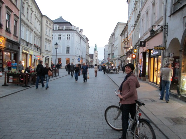 Sunset bike ride with Reza through the city center, Krakow, Poland.