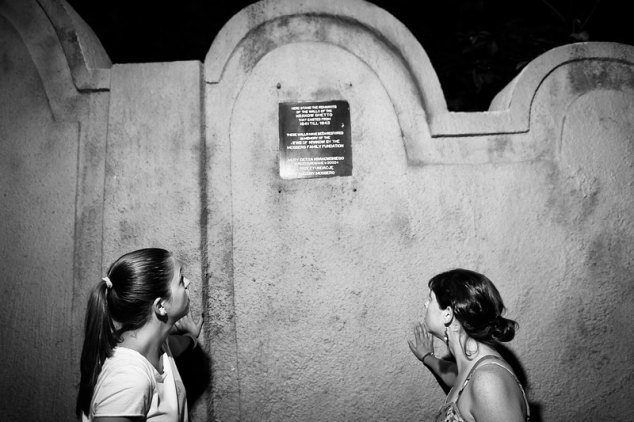 Magda and I touching the still-intact wall that once surrounded the Jewish Ghetto in Krakow, Poland under the Nazi Regime. Photo credit: Marek Petraszek