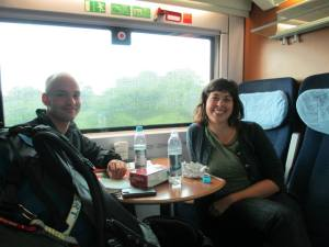 Met Andreas, fellow backpacker, on the train to Berlin, Germany.