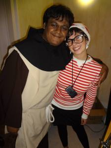 Chris and I met in Berlin and we met up in Brussels, Belgium, two months later! This is on Halloween.