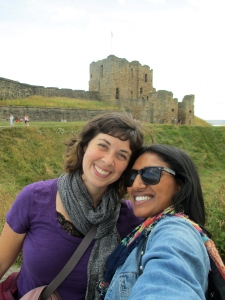 Childhood friend Abie and I in England.