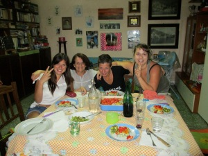 Baia, Campania, Italy in the home of my wonderful host, and now, friend for life, Gaia, with her mother and friends Chiara and Assia.