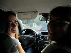 The lovely Valeria and Gaia on our way to Naples, Italy.