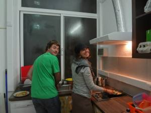 Josh and I cooking dinner - met in Porto, Portugal.