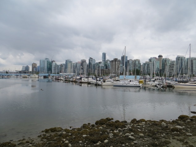 Looking back at the cityscape from Stanley Park.